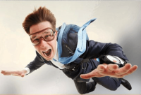 Business person parachuting